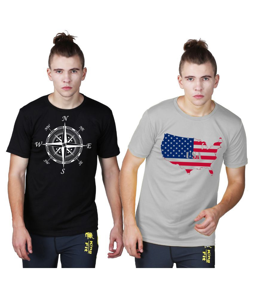 Essenze Multi Polyester T-Shirt Pack of 2