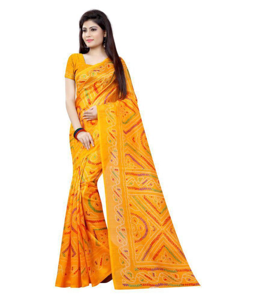 Fstore Yellow and Orange Bhagalpuri Cotton Saree