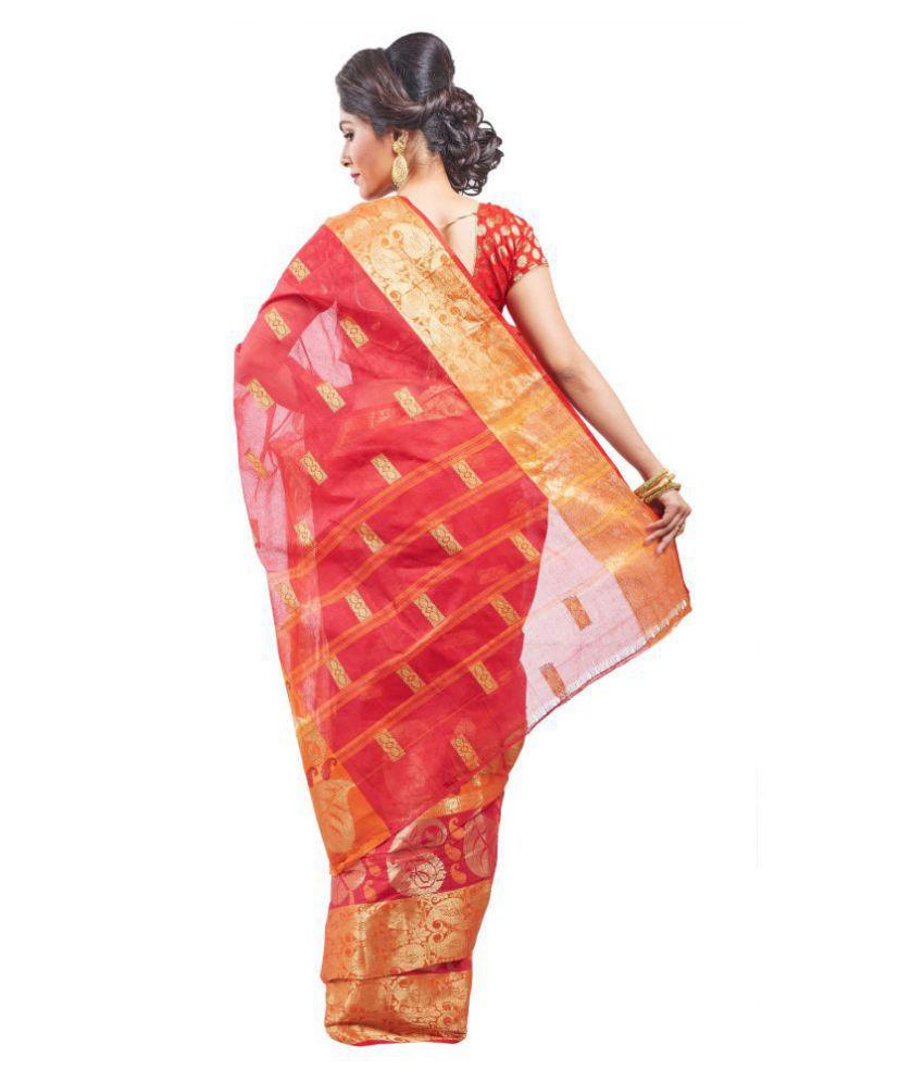 Loom&Crafts Red Bengal cotton Saree