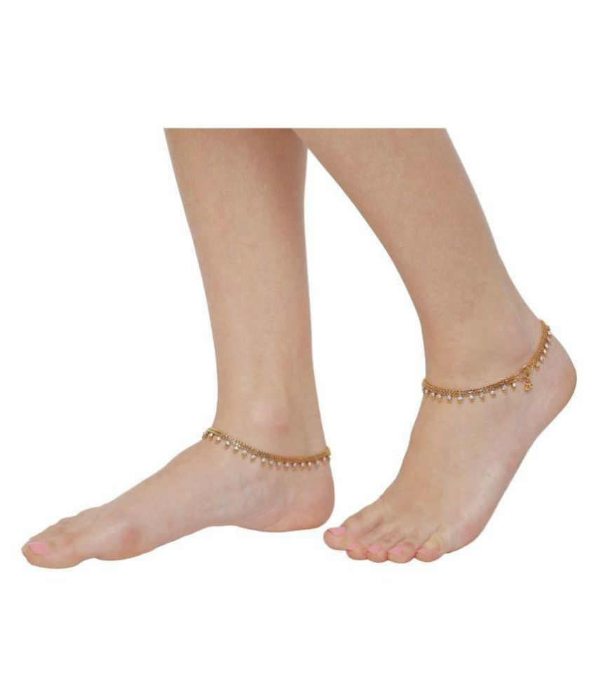 White Rhinestone with Golden Heavy Bollywood Ethnic Pair of India Anklet for Women By GoldNera