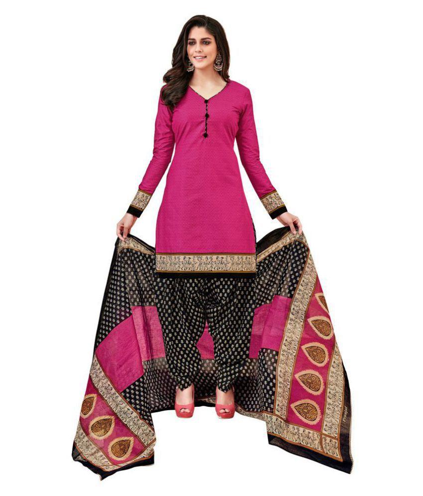 Pranjul Pink Cotton Dress Material