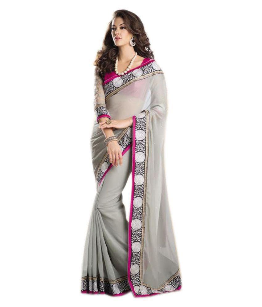 Ethnic Wear Grey Georgette Saree