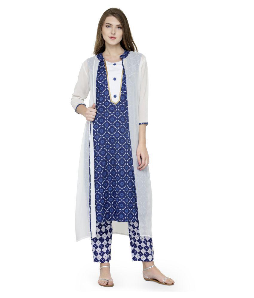 Natty India Blue Cotton A-line Stitched Suit