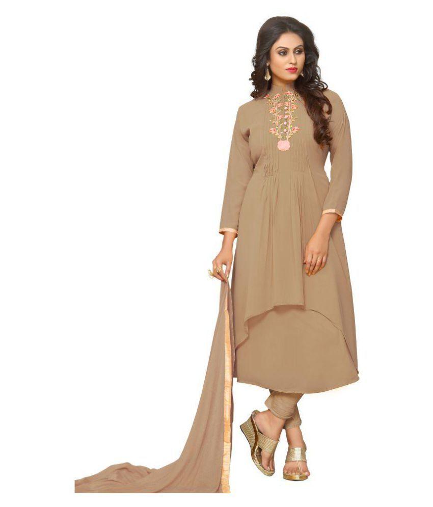 07e98e53cf YOYO FASHION Beige Georgette A-line Semi-Stitched Suit - Buy YOYO FASHION  Beige Georgette A-line Semi-Stitched Suit Online at Best Prices in India on  ...