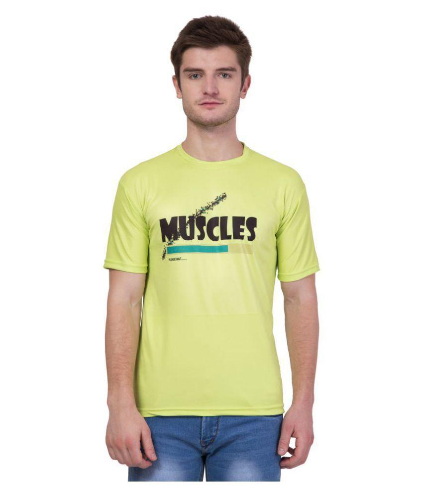 KRISTOF Green Polyester Viscose T-Shirt