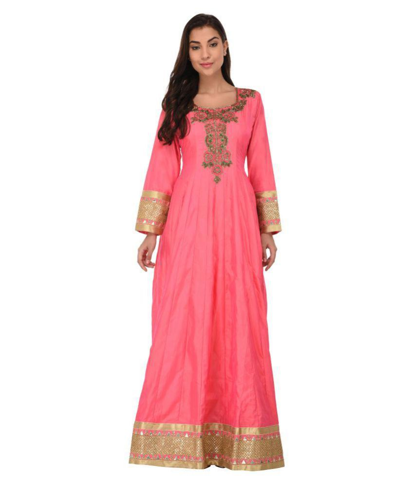 SVT ADA COLLECTIONS Pink Silk Straight Kurti