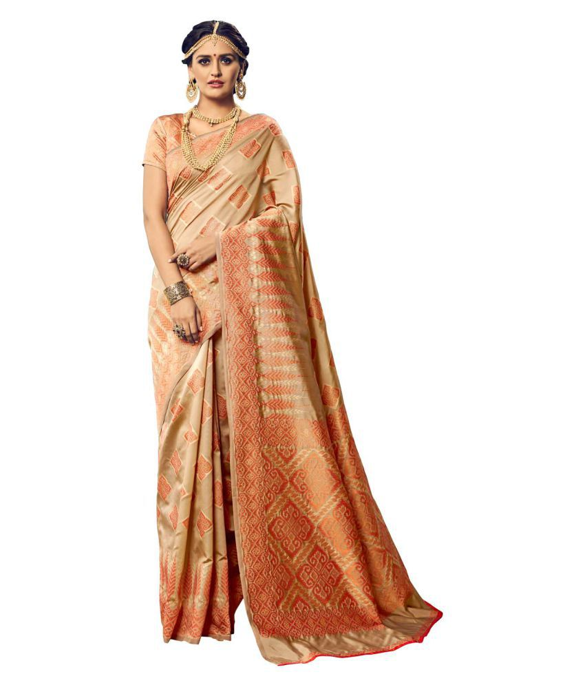 Yadu Nandan Fashion Beige Cotton Silk Saree