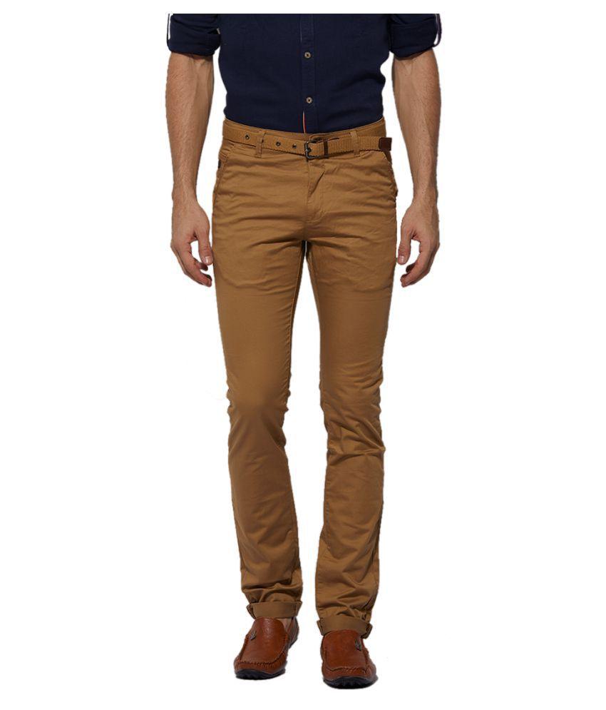 Beevee Khaki Regular -Fit Flat Trousers
