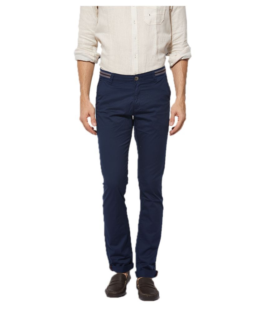 Beevee Navy Blue Regular -Fit Flat Trousers
