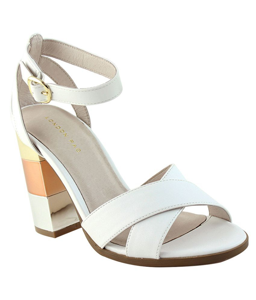 London Rag White Block Heels