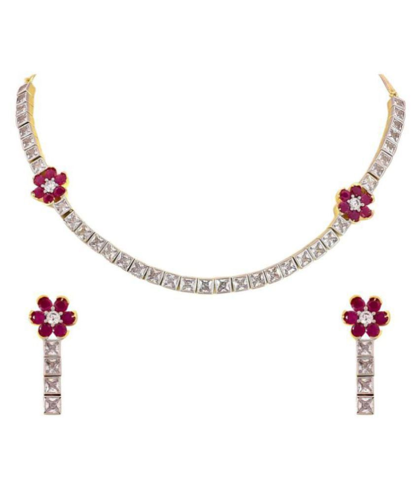 d2109f161 Ratnavali Jewels American Diamond CZ Gold Plated Designer Jewellery Set   Necklace Set With Chain   Earring For Girls Women (RVA104) - Buy Ratnavali  Jewels ...