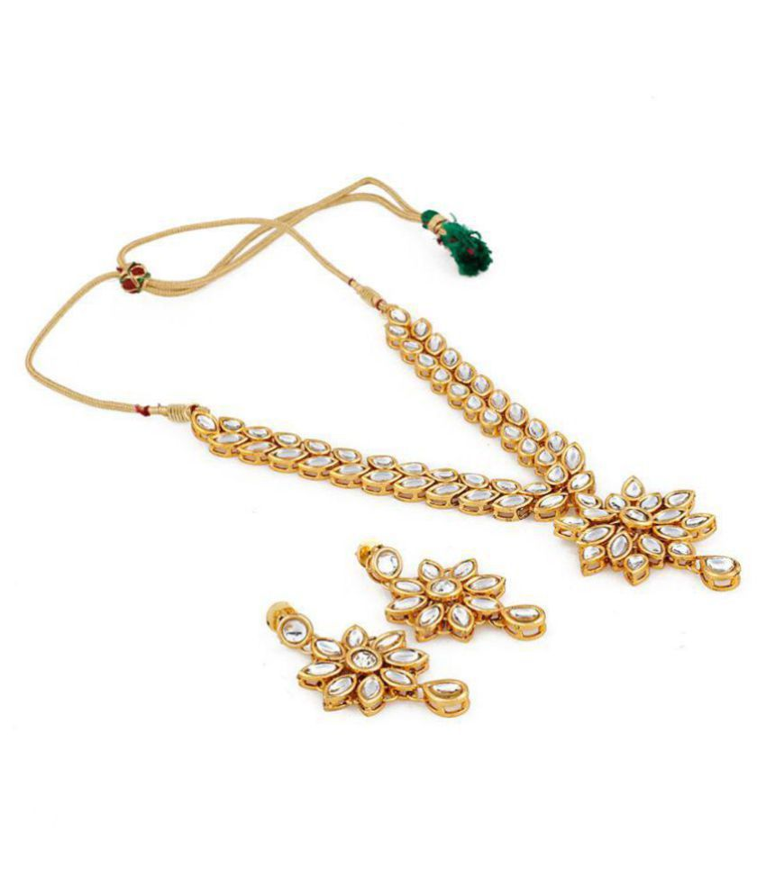 Aradhya Designer Square Kundan Necklace with Earrings for Women and Girls