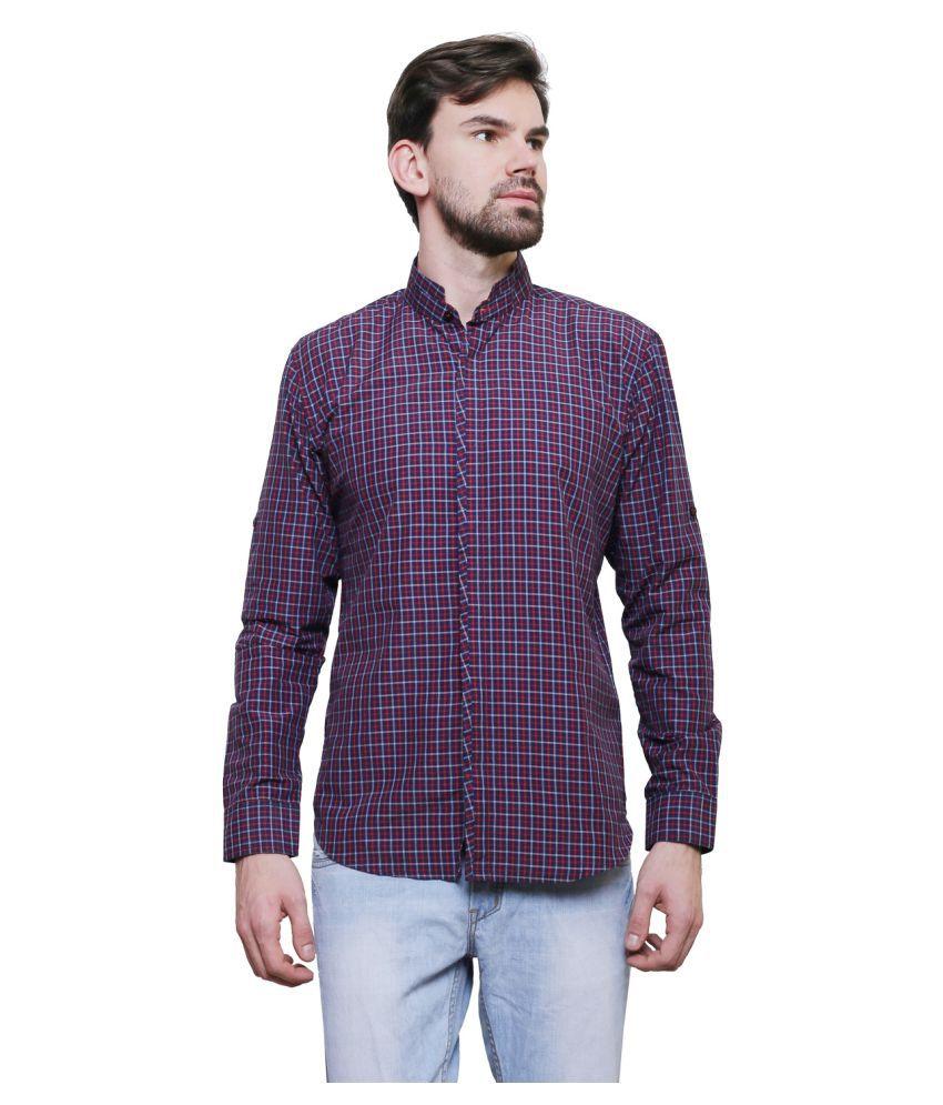 Purple State Blue Casual Slim Fit Shirt