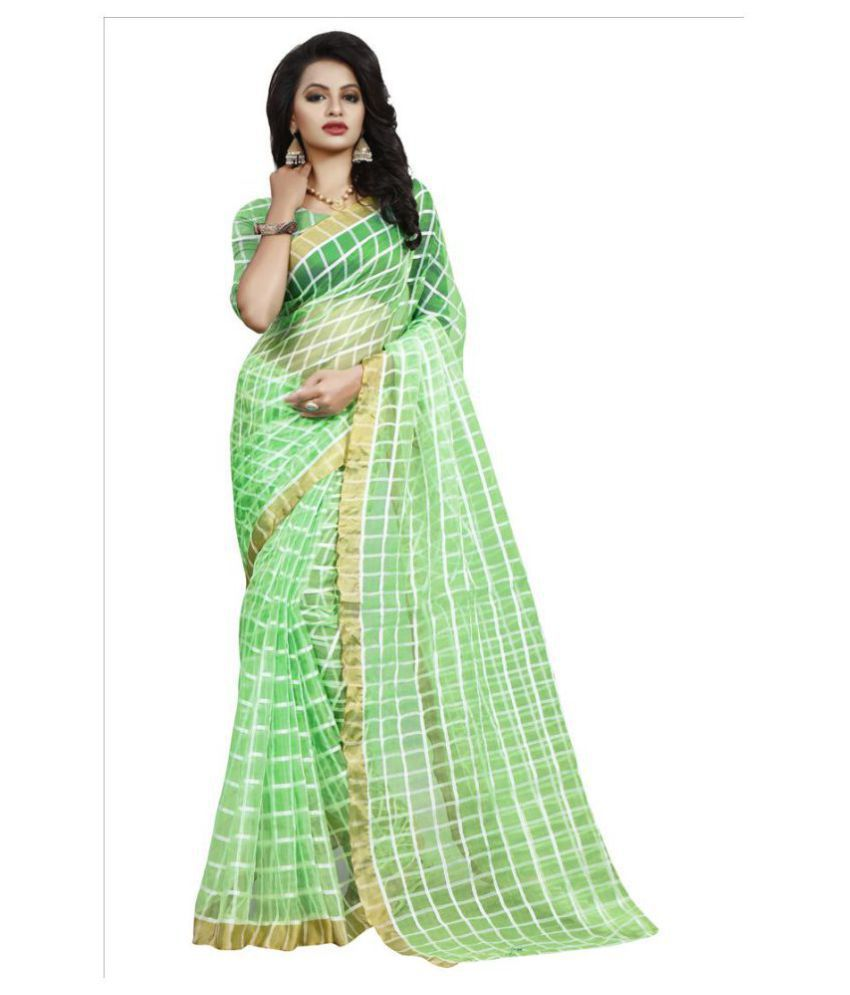 Dharma Products Green and White Cotton Silk Saree