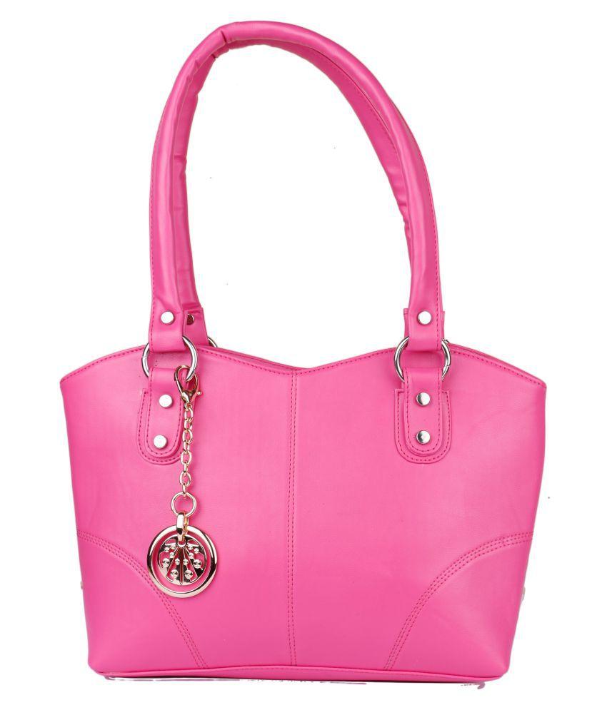 Glasy Pink P.U. Shoulder Bag