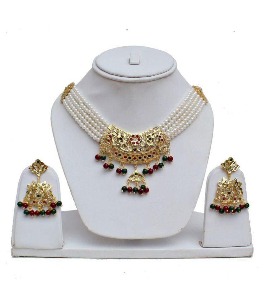 Lucky Jewellery Designer Navratan Magenta Green Gold Plated Necklace Set  For Women