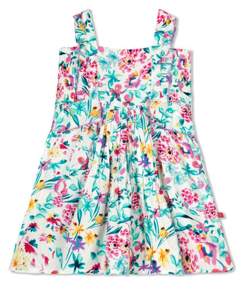 Budding Bees Girls Off White Printed Smocked Dress Buy Budding Bees Girls Off White Printed Smocked Dress Online At Low Price Snapdeal