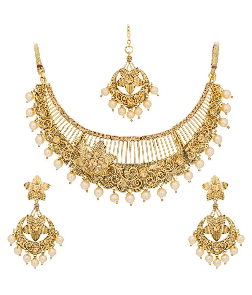 Aadita Traditional Royal Gold Plated American Diamond Choker Necklace with Earrings
