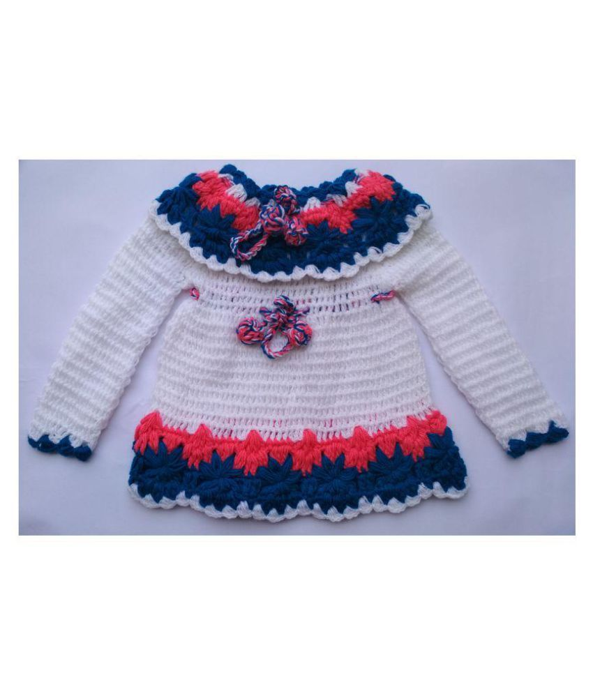 72e357ec5 Woolen handmade Frock Sweater for 6-12 months baby girl color white ...