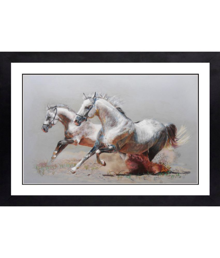 CRAFTSFEST VAASTU RUNNING HORSE MDF Painting With Frame- (30cmX20cmX1.5cm)