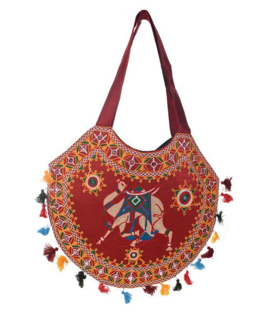 Crafts Potali Maroon Cotton Shoulder Bag