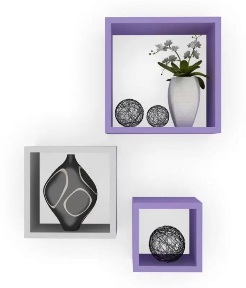 Onlineshoppee Floating Shelf/ Wall Shelf / Storage Shelf/ Decoration Shelf Purple - Pack of 3