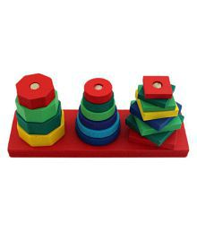 Wooden Geometric Stacker - (WNTb080) - Blocks Sort Chunky Puzzle Toys