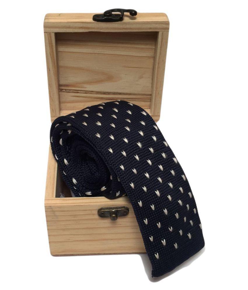 Baawre Blue Polka Dots Woven Necktie