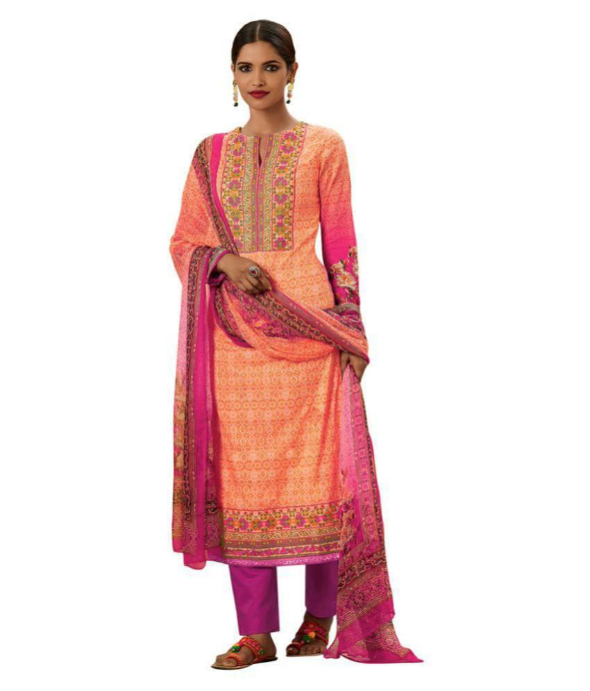 Chhabra Xclusive Pink Cotton Dress Material
