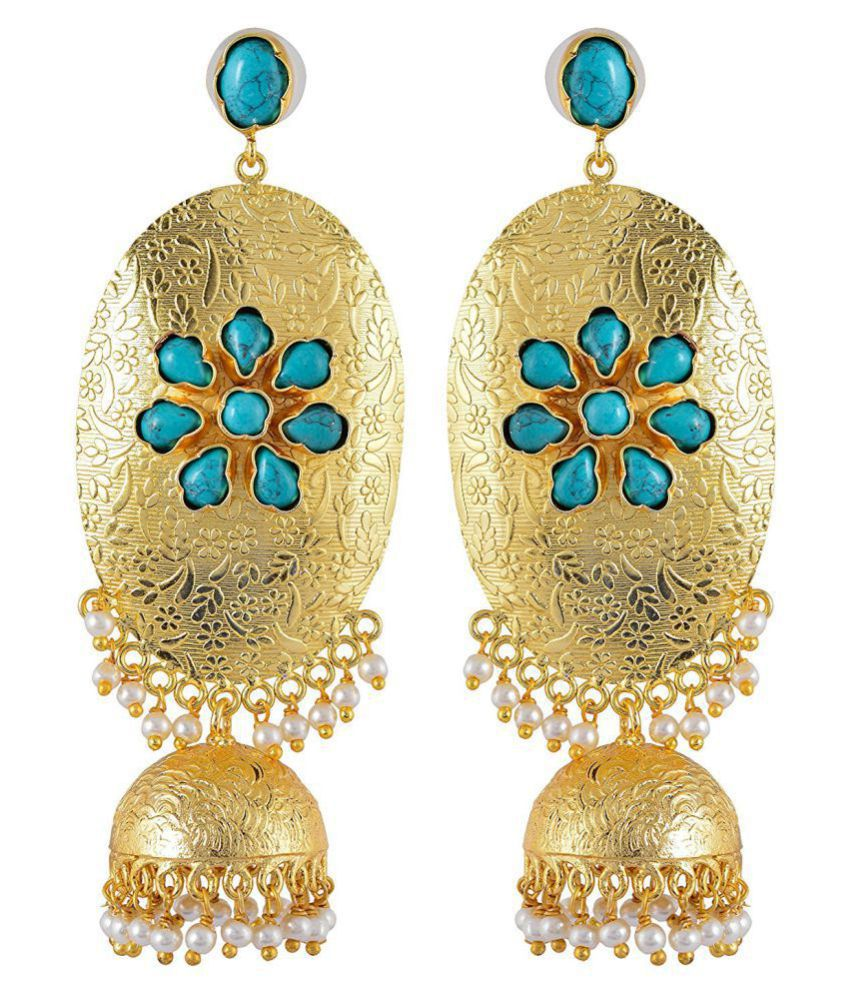 Contemporary Indo Western Big Bold Colored Stones Desginer Stylish Party Wear Jhumki / Jhumka Earring For Girls / Women