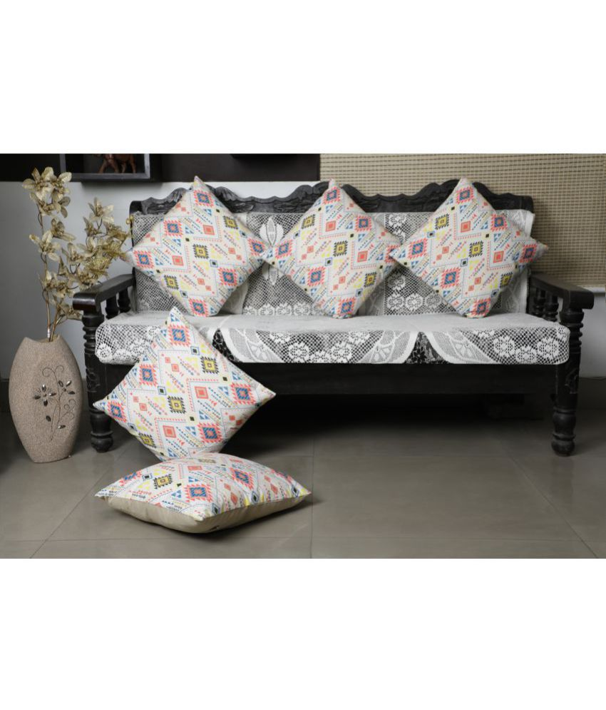 Dekor World Set of 5 Cotton Cushion Covers 30X30 cm (12X12)