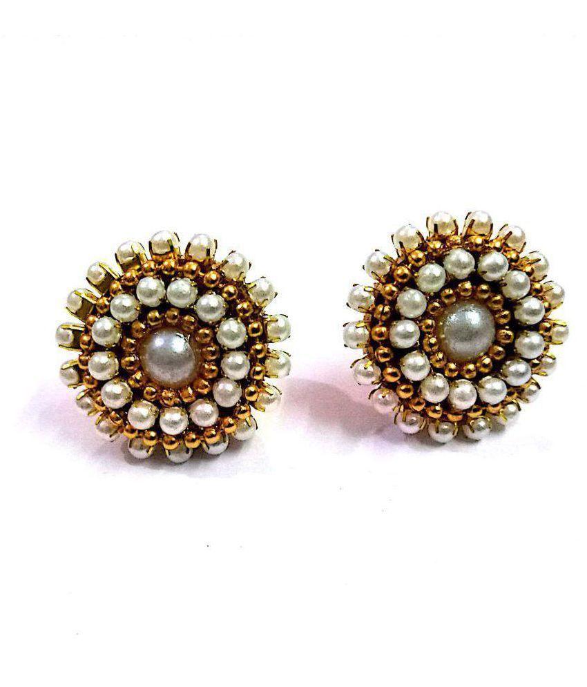 Sapthami's Silk Thread Earrings - Pearl Stud