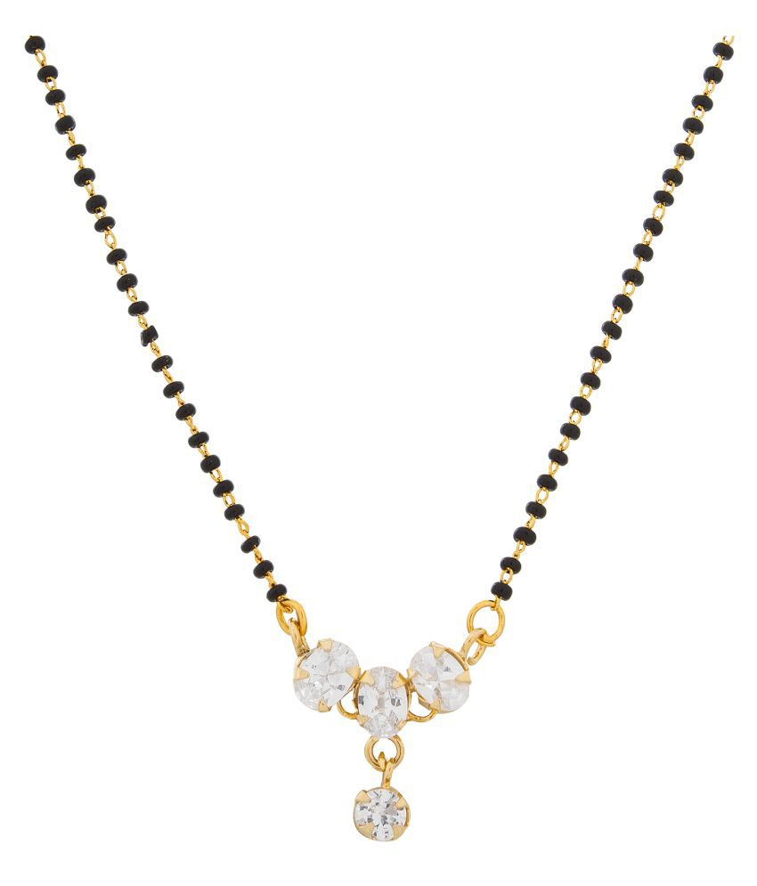 Aadita Traditional Gold Plated American Diamond Mangalsutra with Chain for Women