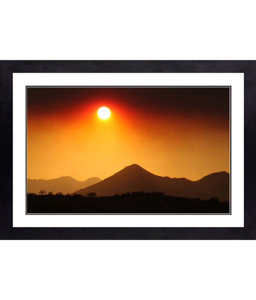 CRAFTSFEST BEAUTIFULL SUNSET MDF Painting With Frame- (30cmX20cmX1.5cm)