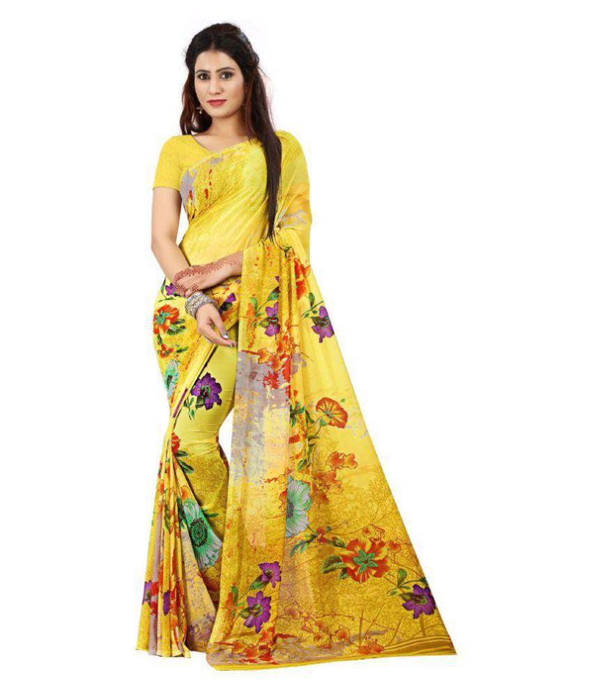 Kalaa Varsha Yellow Georgette Saree