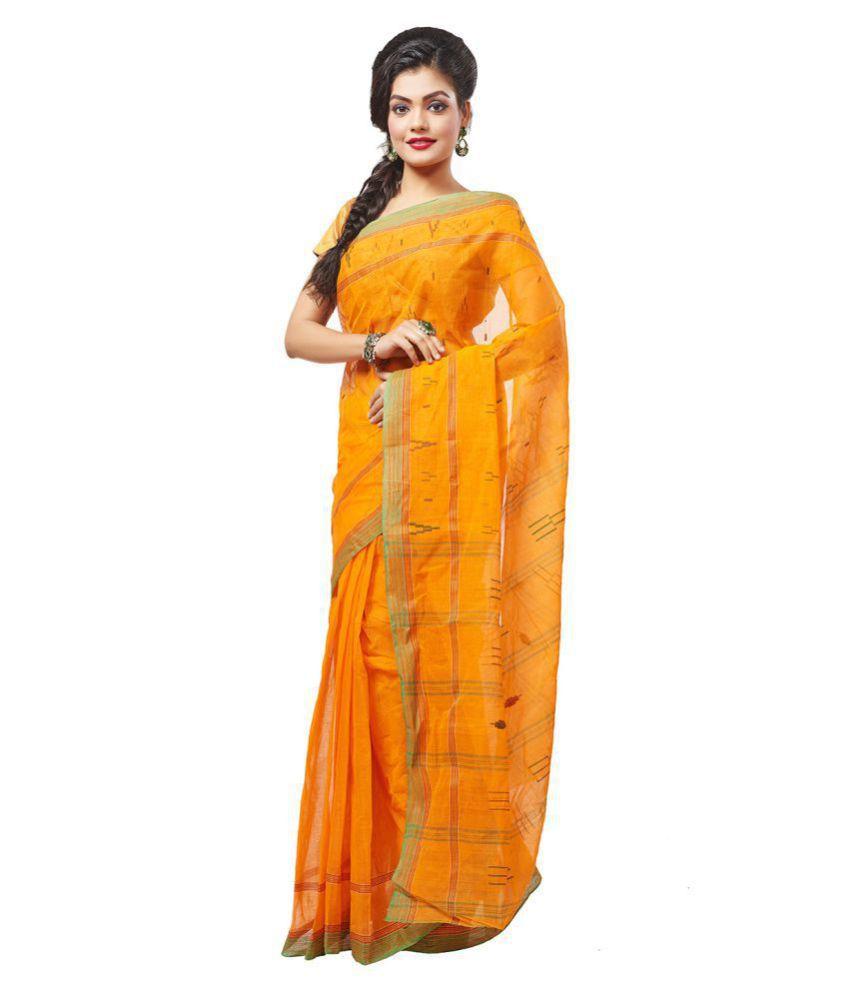 Slice of Bengal Orange Cotton Saree