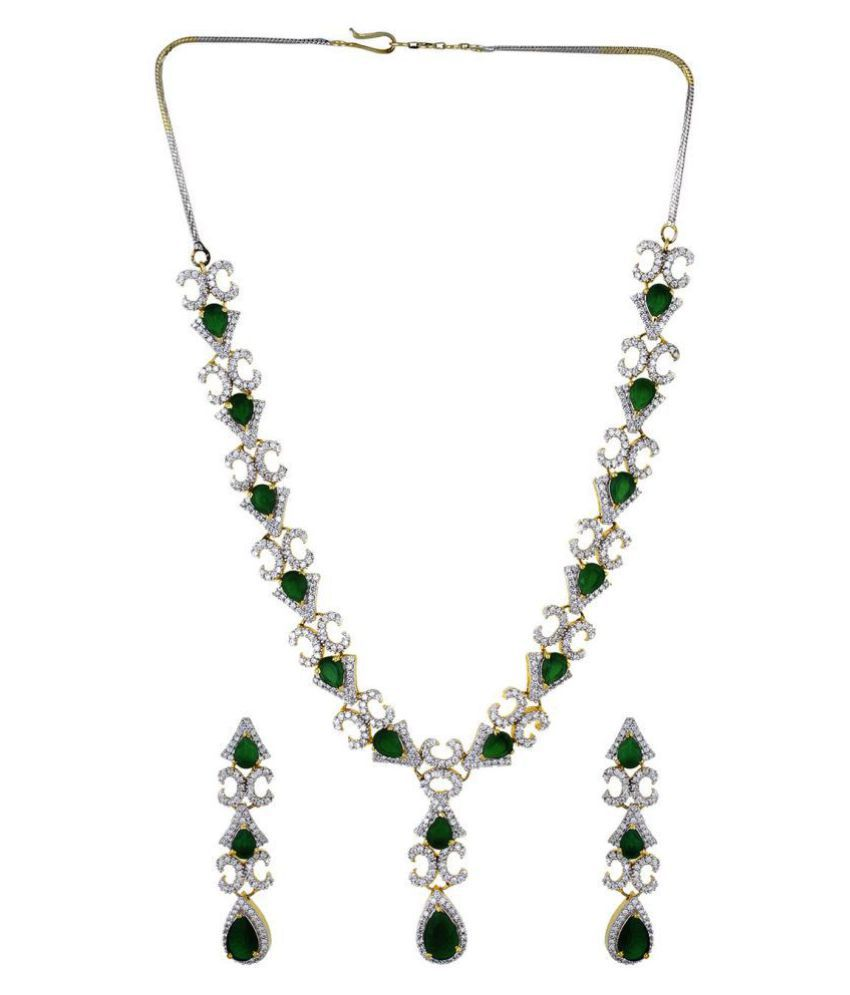necklace set green zircon stone online white