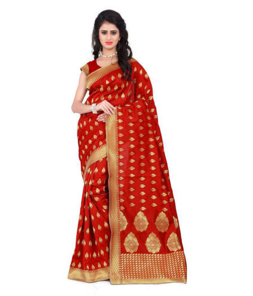 Fashion and Hub Red Bhagalpuri Silk Saree
