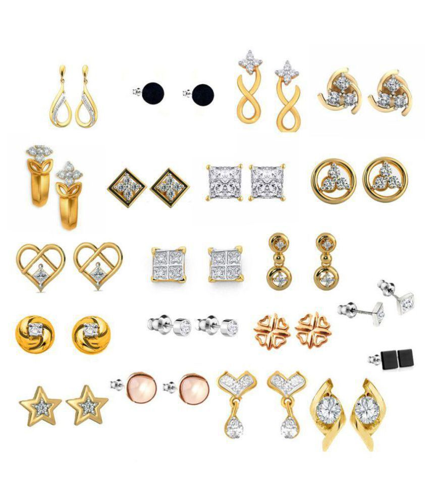 Kaizer Jewelry Present Combo of 20 Trendy American Diamond Earrings for Women Girls at Wholesale Price Earrings Gold Plated DS-07