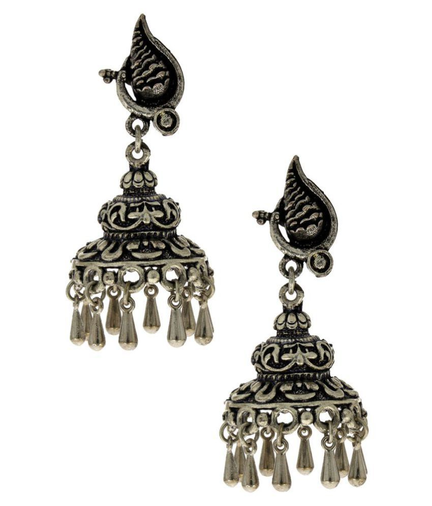 Anuradha Art Silver Finish Peacock Styled Wonderful Oxidised Jhumki/Jhumkas Earrings For Women/Girls