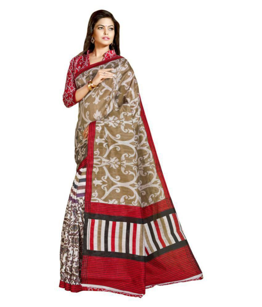 Florence Red and Beige Jute Saree