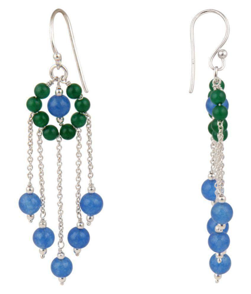 Jade in Sky Blue and Green 925 Silver Earrings