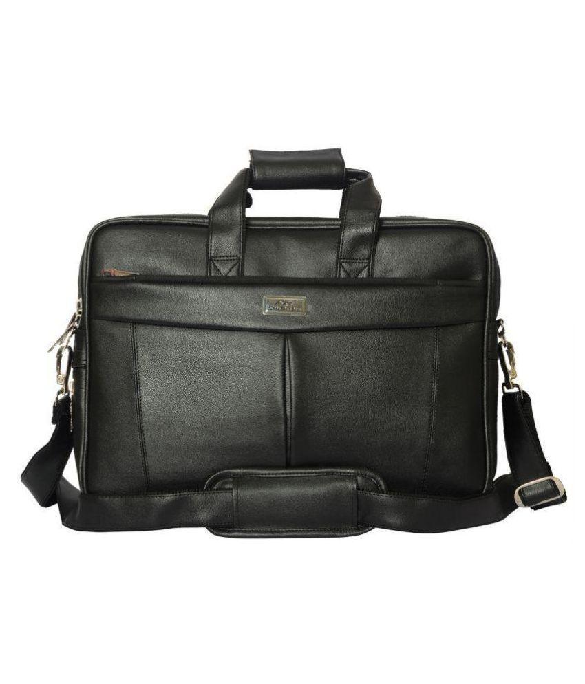 SSTL Black Synthetic Office Messenger Bag