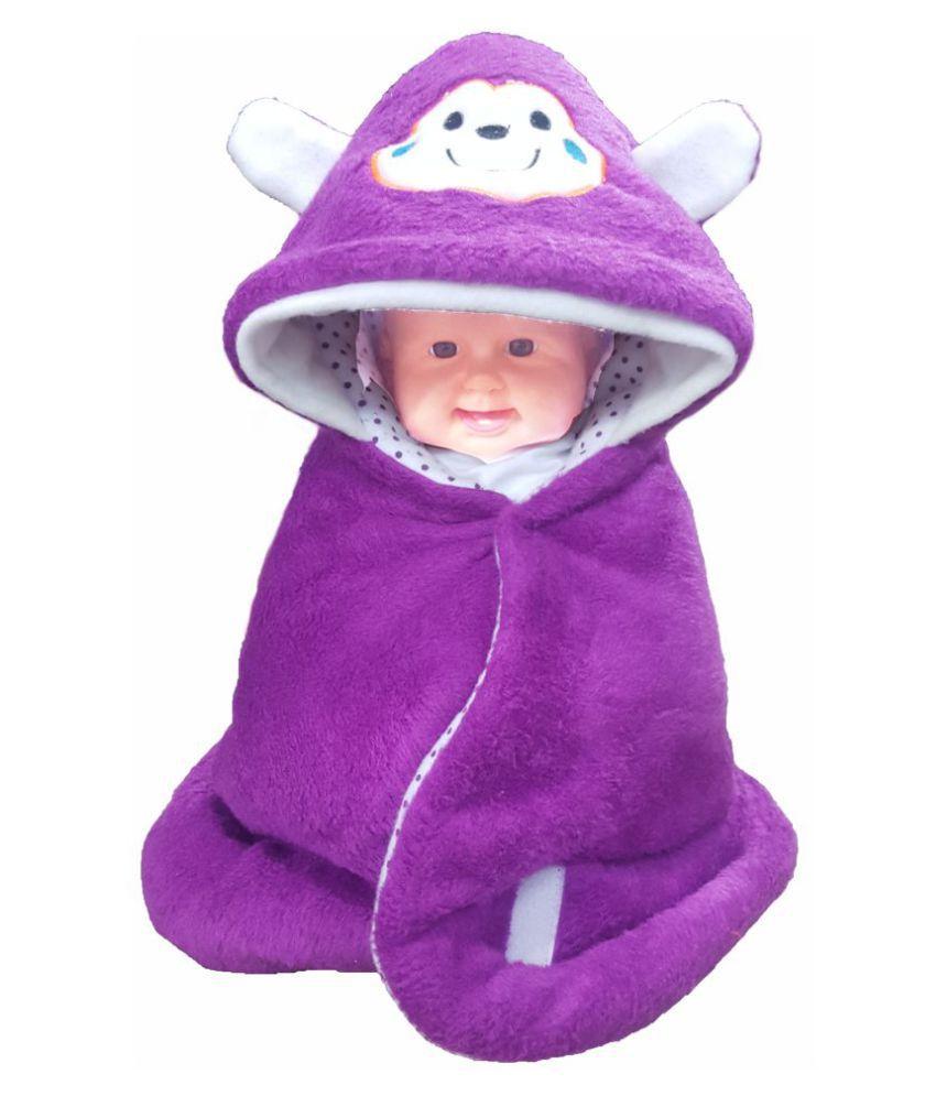 brandonn Purple Fleece Baby Wrap cum blanket ( 66 cm × 66 cm - 1 pcs)