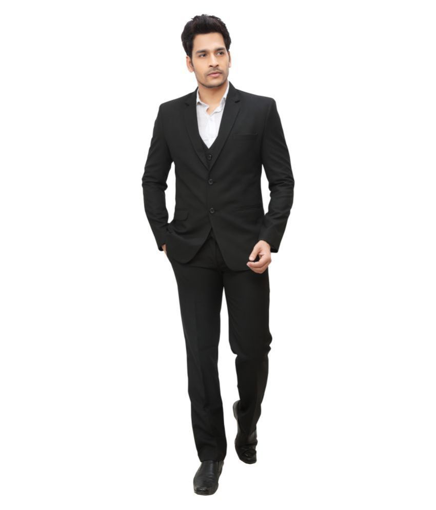 nu abc garments Black Plain Formal 2 Piece Suits
