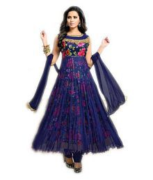 Active Feel Free Life Blue Bhagalpuri Silk Anarkali Semi-Stitched Suit