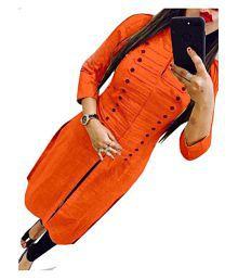 Vardan Fashion Orange Cotton A-line Kurti