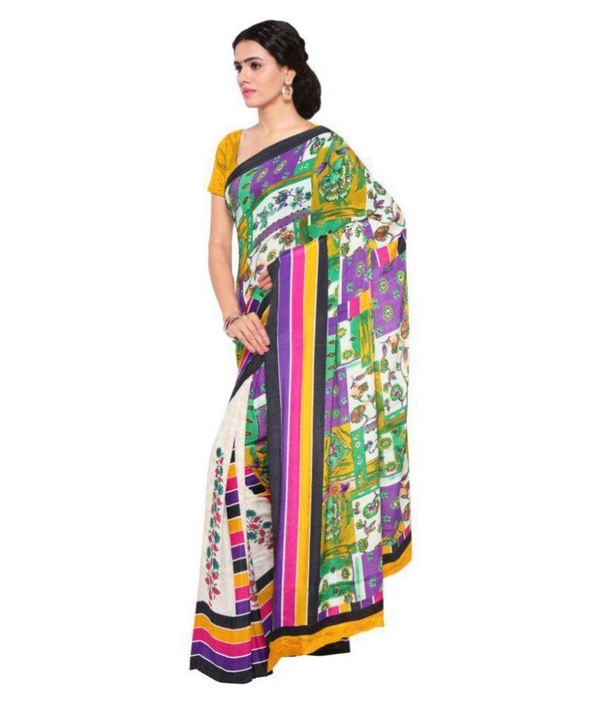 Aagaman Fashions Multicoloured Crepe Saree
