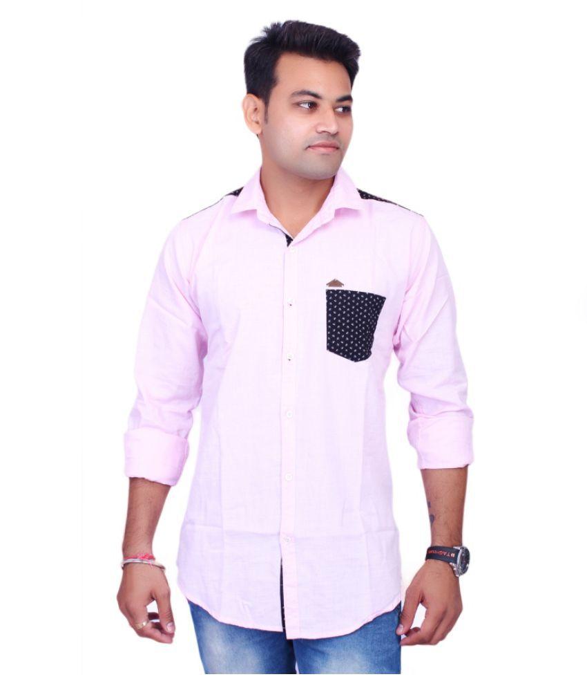 La Milano Pink Casual Slim Fit Shirt