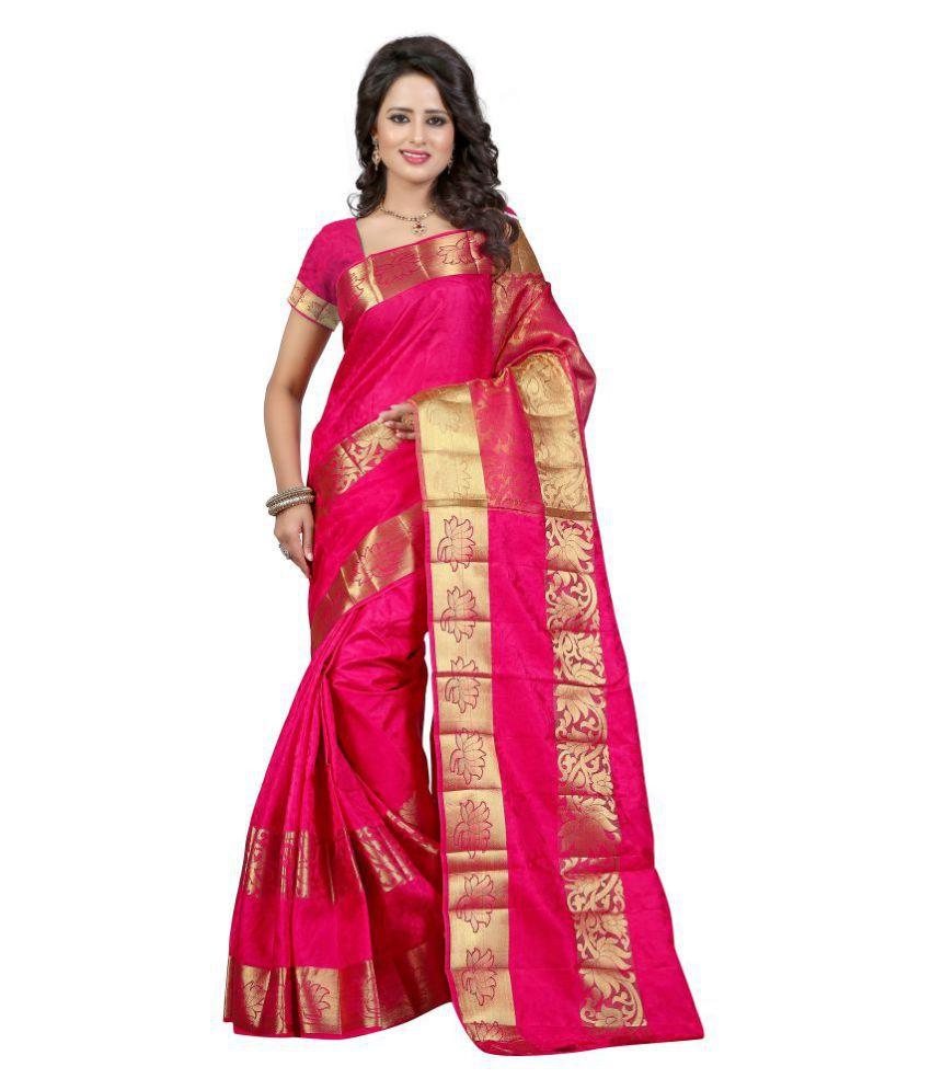 PANCHRATNA Pink Banarasi Silk Saree